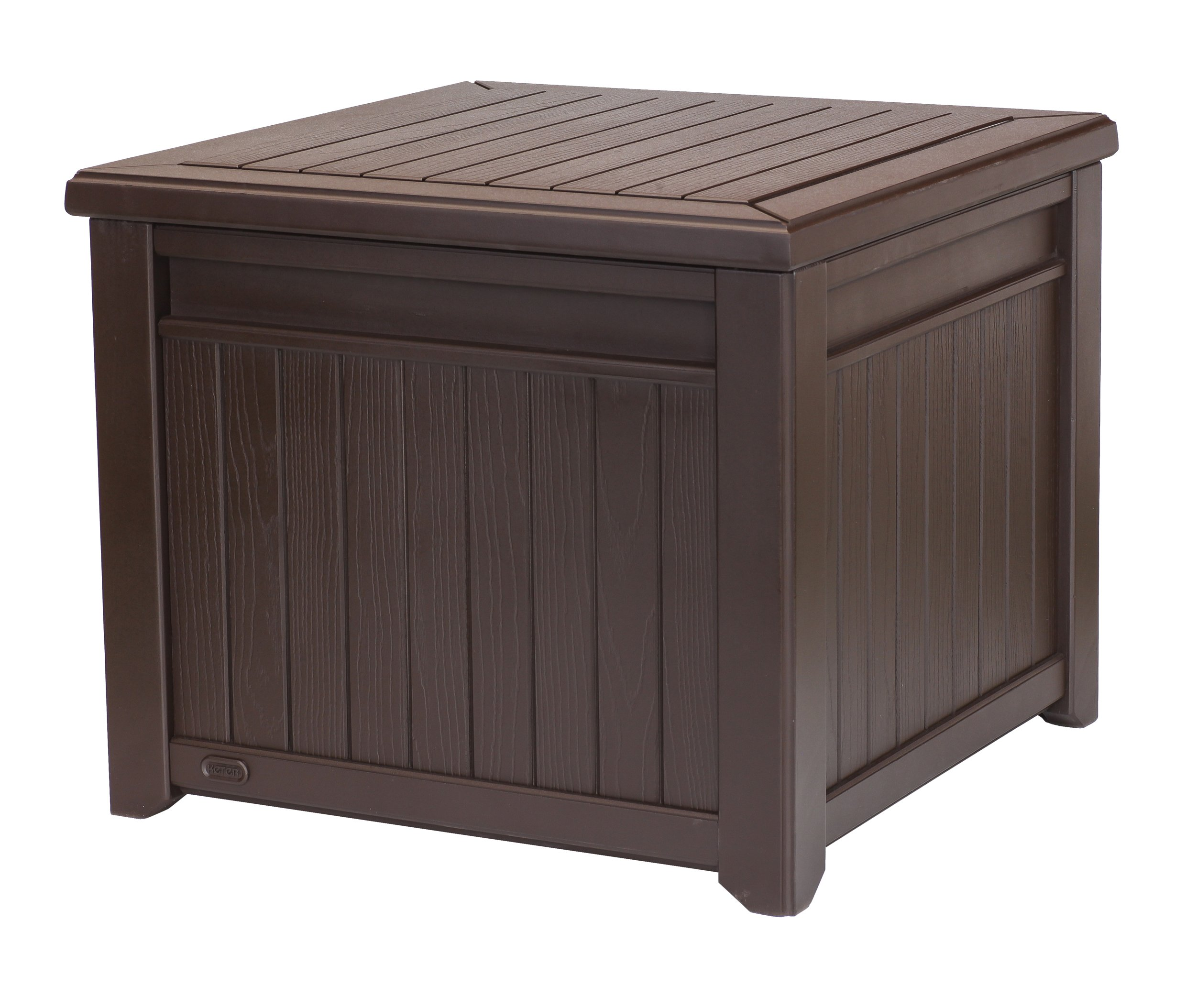 Keter Cube Wood-Look 55 Gallon All-Weather Garden Patio Storage Table or Bench