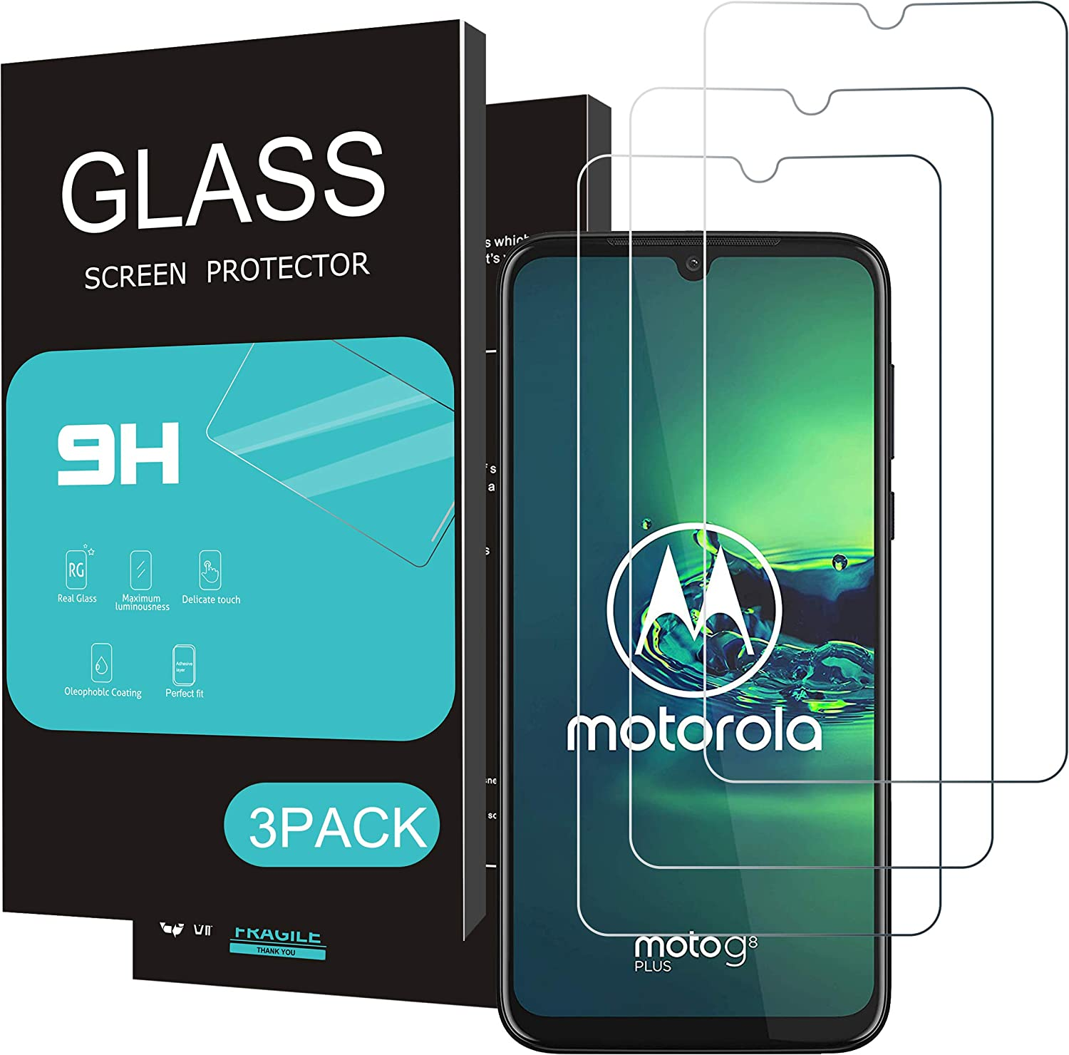 Homemo Screen Protector for Moto G8 Plus 3Pack 2.5D Edge Tempered Glass for Moto G8 Plus Anti Scratch Case Friendly Not for G8 Power lite