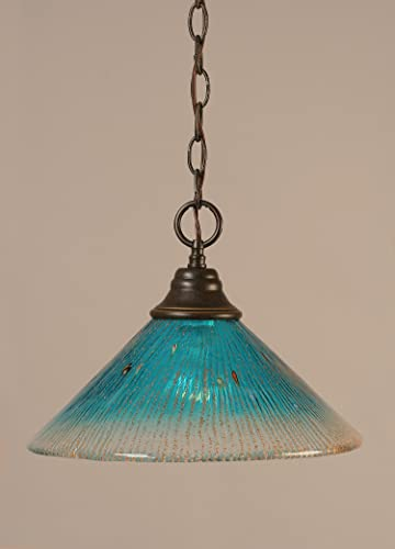 9.5 in. Downlight Pendant w Teal Crystal Glass Shade