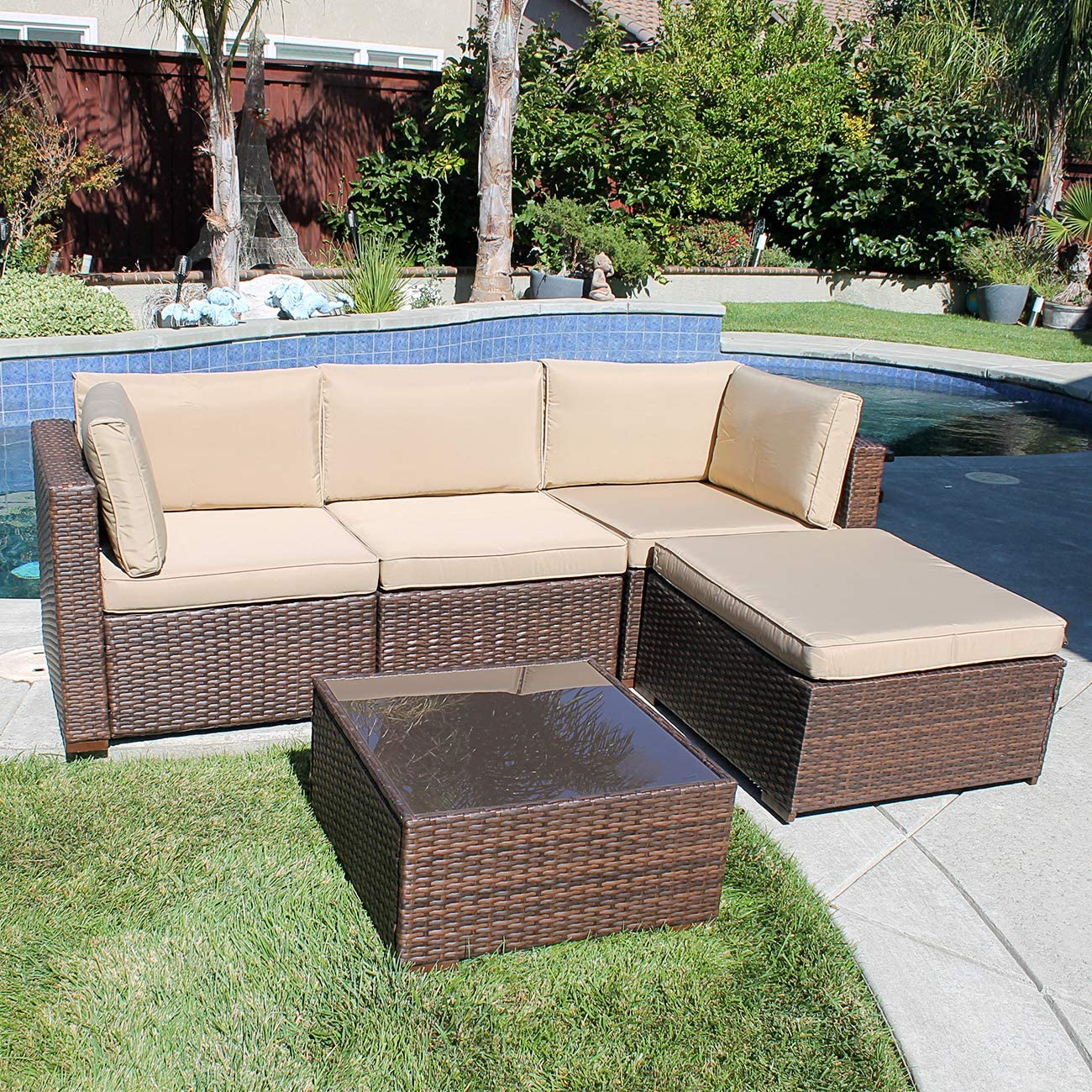 Patiorama 5 Pieces Outdoor Patio Furniture Sets Rattan Sofa Wicker Set, Outdoor Backyard Porch Garden Poolside Balcony Furniture Sets Brown and Beige