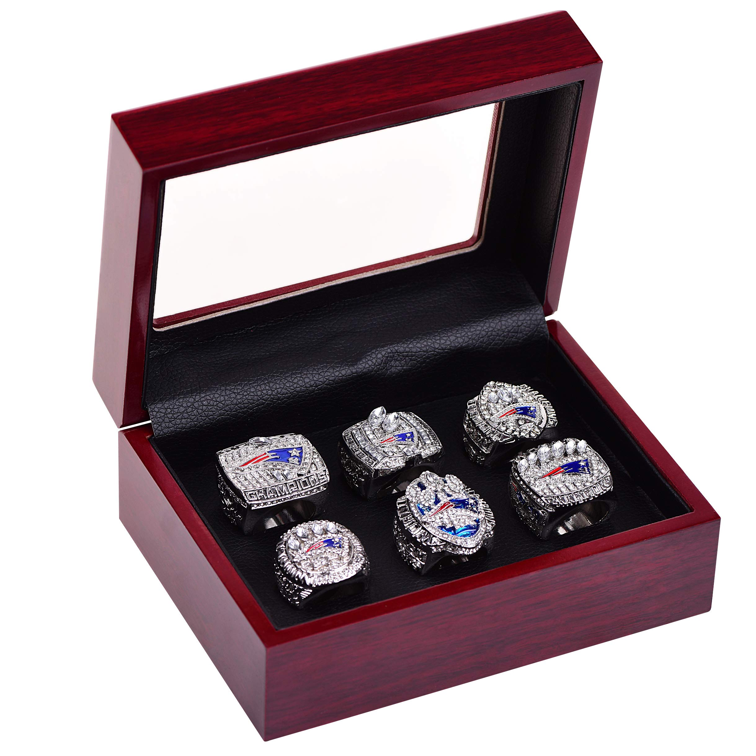 HASTTHOU Replica Championship Ring for New England Patriots Gift Fashion Ring (A Set of 6)