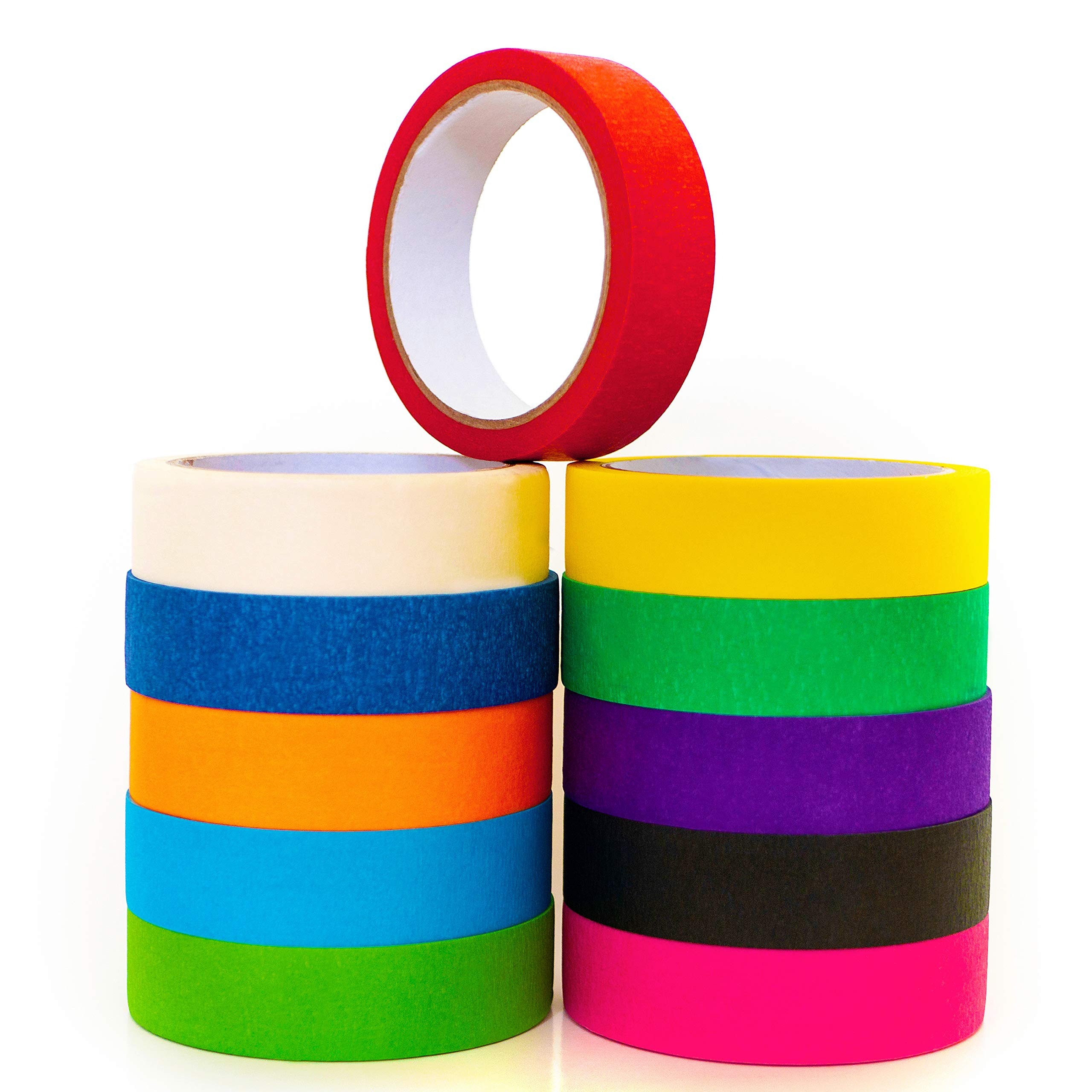 Duffco Colored Masking Tape (11 Pack - Assorted Color Rolls) #1 Colored Tape for Arts and Crafts, DIY Decor, Kids Projects, School Supplies