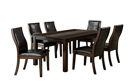 Furniture Of America Baine Modern 7 Piece Dining Table Set With