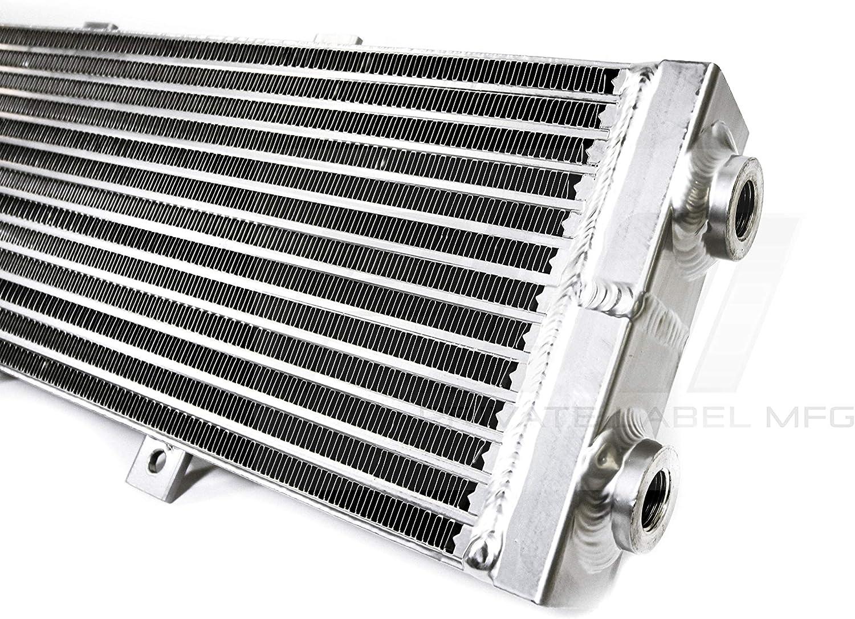 PLM Universal Water to Air Intercooler Radiator 26x7x2  Water Temp Gauge Inlet