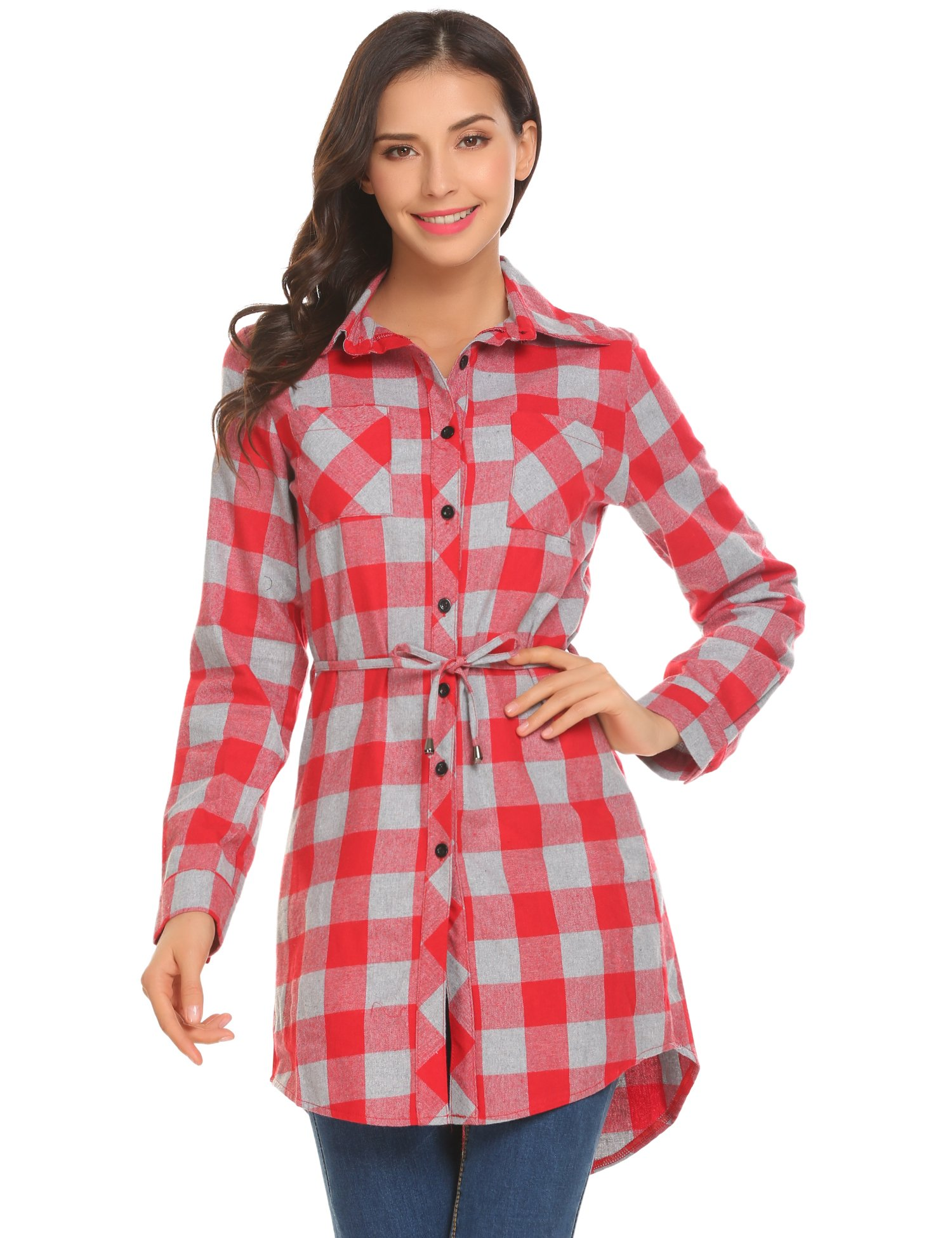 HOTOUCH Ladies Casual Plaid Blouse Tops with Belt, Red Gray, Large