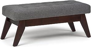 Simpli Home 3AXCOT-249-SGL Draper 40 inch Wide Mid Century ModernOttoman Bench in Slate Grey Linen Look Fabric