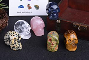 JIC Gem 6pc Hand Carved Clear Quartz Rose Quartz Unakite Stone Tiger's Eye Stone Spotted Stone Sodalite Skull Stone Pocket Statue Figurine Decor Healing Crystal Energy Reiki Gemstone Collectible Fig