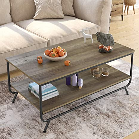 Amazon Com Homecho Industrial Coffee Table 2 Tier Wood And Metal Rustic Cocktail Table With Storage Shelf For Living Room Office Easy Assembly Brown 43 Inch Kitchen Dining