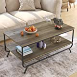 HOMECHO Industrial Coffee Table, 2-Tier Wood and Metal Rustic Cocktail Table with Storage Shelf, for Living Room Office…