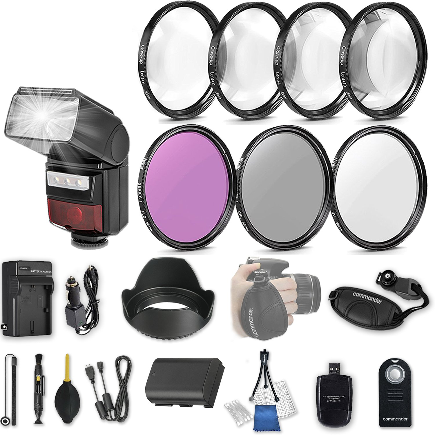 58mm 21 Pc Accessory Kit for Canon EOS Rebel 70D, 80D DSLRs with LED-Flash, UV CPL FLD Filters, & 4 Piece Macro Close-Up Set, Battery, and More
