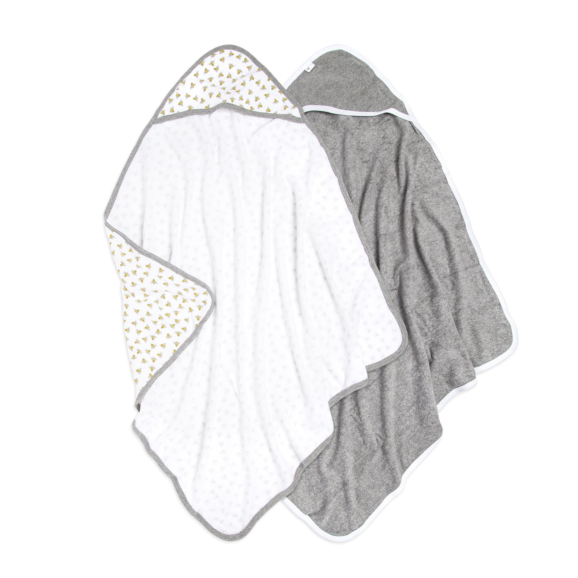 Burt's Bees Baby - Hooded Towels, Absorbent Knit Terry, Super Soft Single Ply, 100% Organic Cotton (Honey Bee/Grey, 2-Pack) by Burt's Bees Baby
