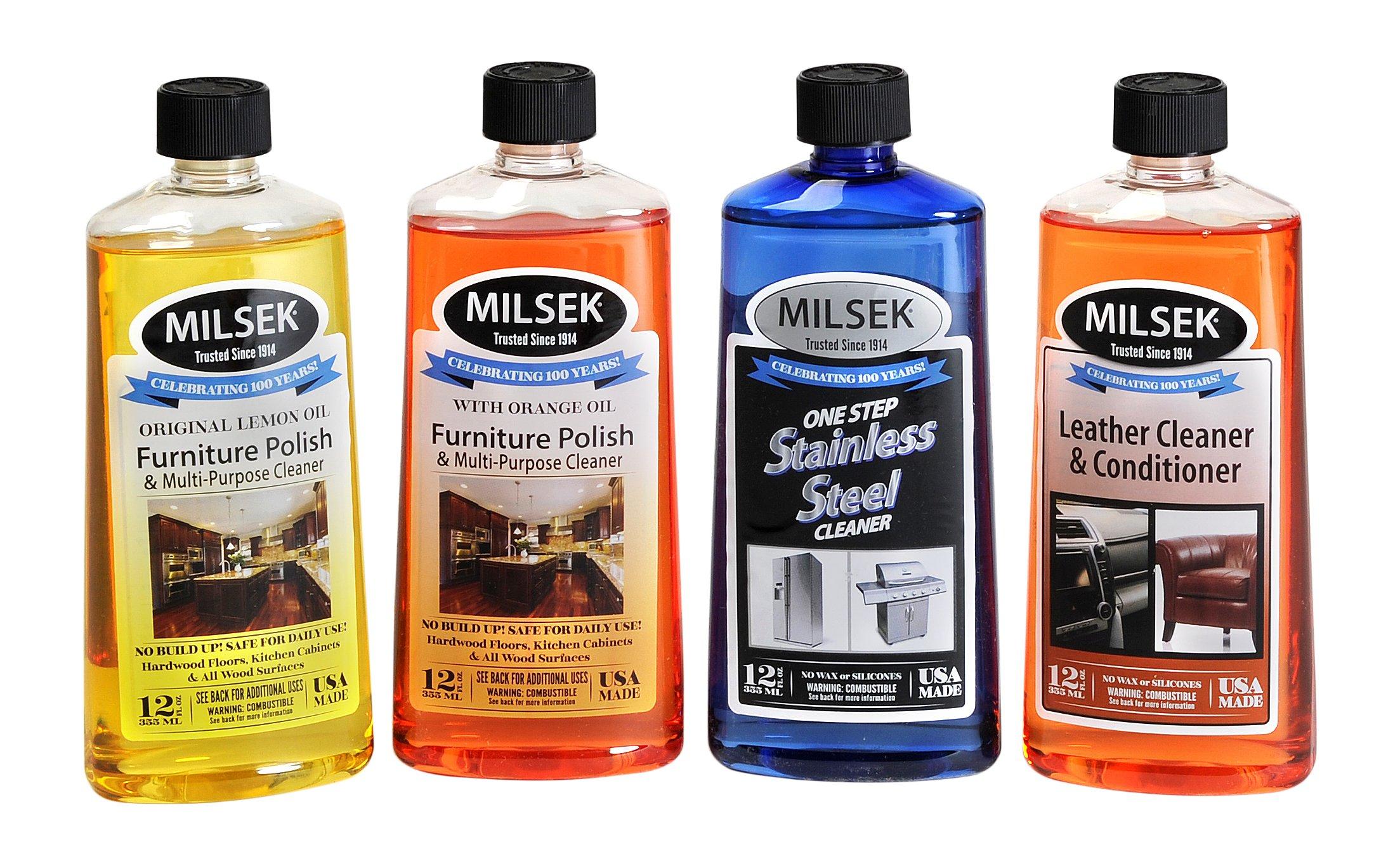 Milsek Lemon Oil & Orange Oil Stainless Steel Cleaner and Leather, 4-Pk - Variety Pack, 12-oz, VAR-4 by Milsek