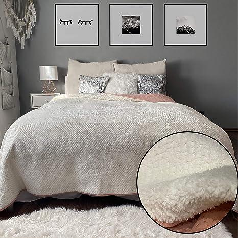 Bettüberwurf Tagesdecke 240x220cm wattierte Zwischenlage Sofaüberwurf Polyester