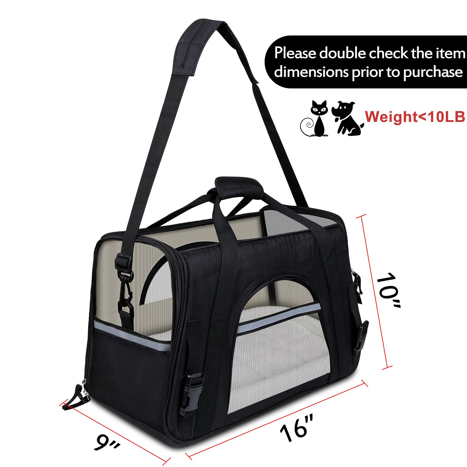 GDPETS Pet Carrier, Airline Approved Cat Carrier Bag Small& Medium Sized Animal, Soft-Sided Pet Travel Tote Fleece Bed, Portable Dog Carriers Hold Up to (10lbs) Fit Under Seats by GDPETS (Image #2)
