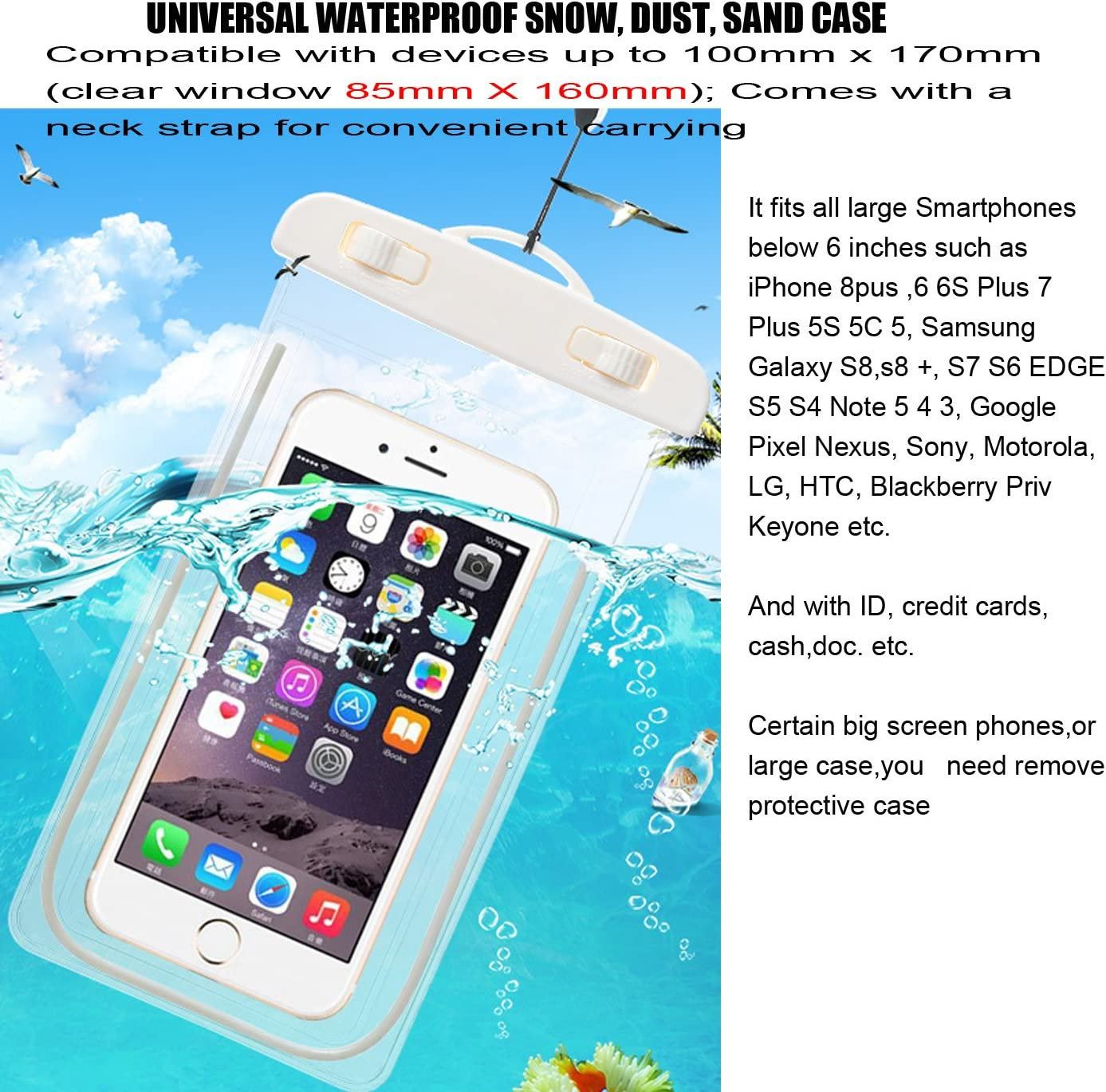 Waterproof Pouch Dry Bag Case with Strap CaseHQ Easy Fitting Sports Cases Cover Scratch-Resistant Slim-Light-Weight Transparent Covers Submersible Cellphones Under 5.8 Black 5Pack 5pack