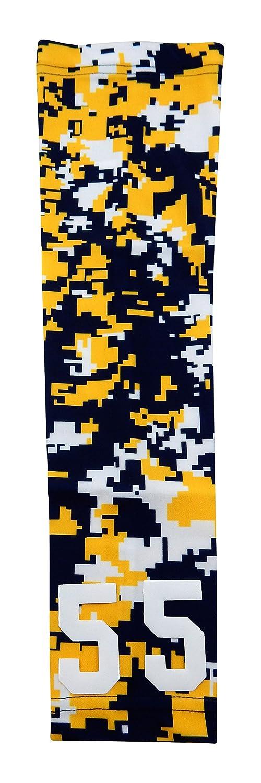 スポーツファーム – カスタム数ネイビーブルーイエローホワイトデジタル迷彩アームスリーブ B016YSBURI  Adult Medium