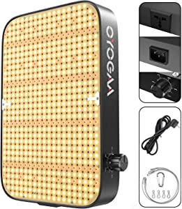 OOYOGAA Newest 600W LED Grow Light Full Spectrum Dimmable Greenhouse for Plants Outdoor Veg Bloom Grow Lamp Hydroponic Growing Light with Updated 588pcs LEDs (Black)