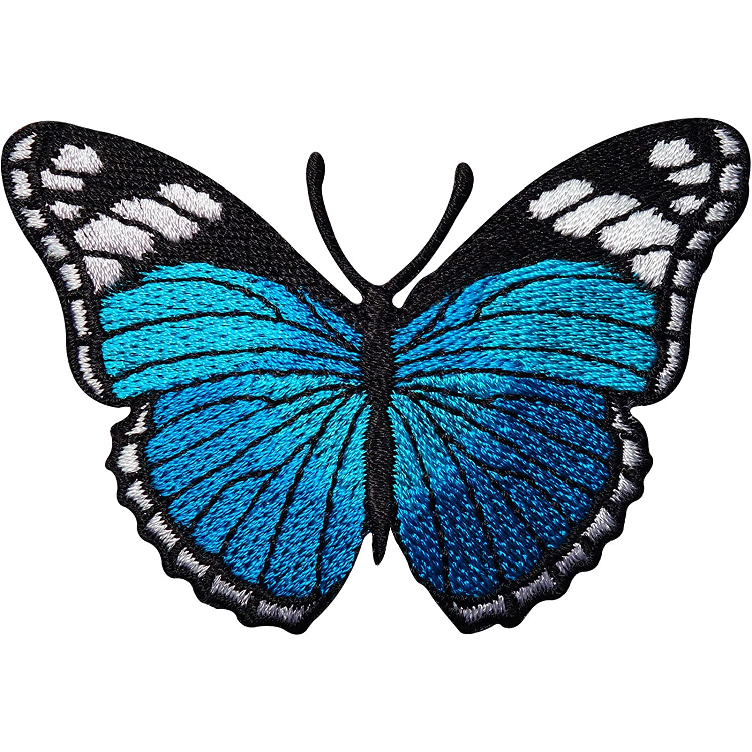Turquoise Blue Butterfly Embroidered Iron//Sew On Patch Jeans Jacket Bag Badge