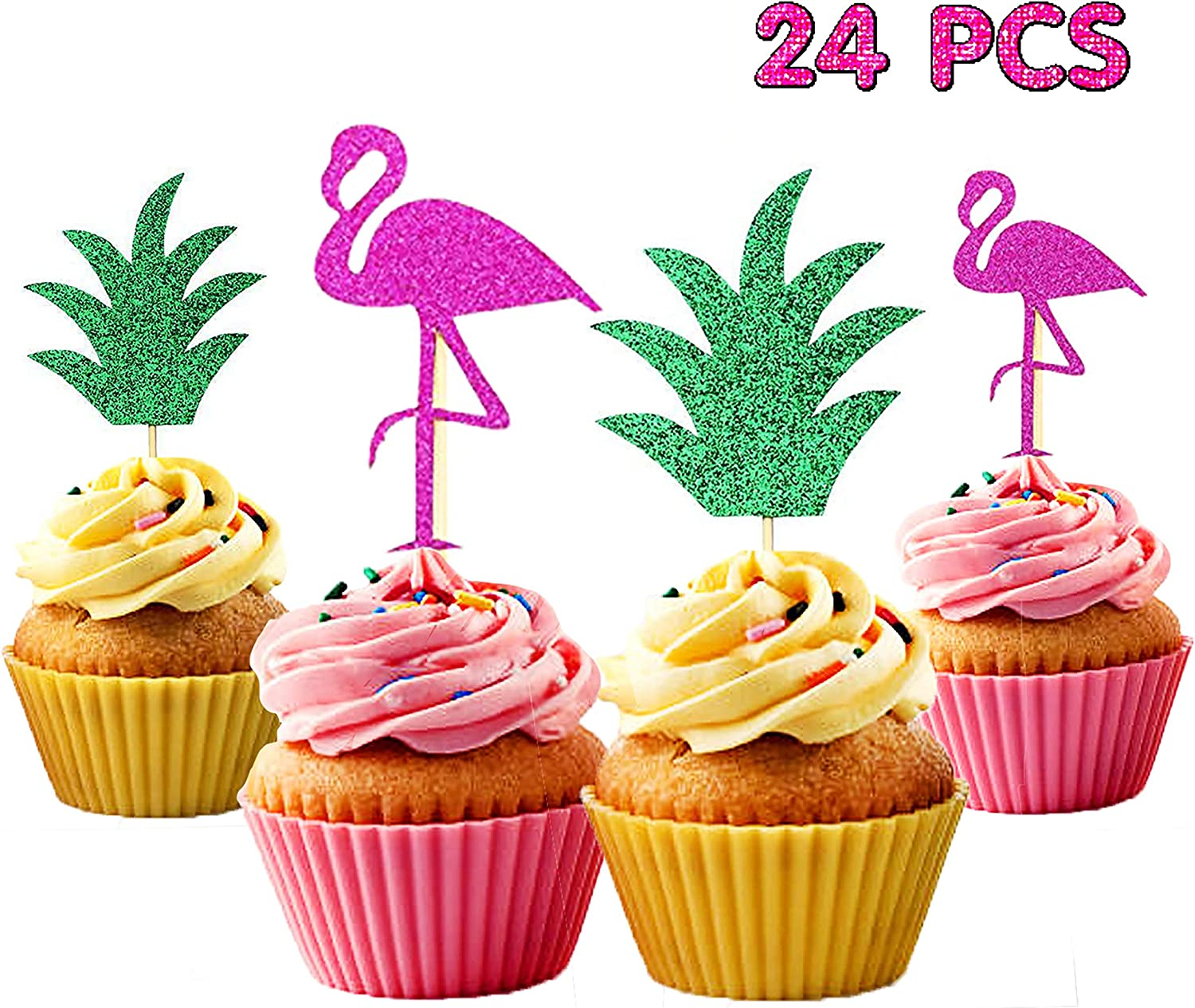 Astonishing Amazon Com 24 Pcs Flamingo Pineapple Cupcake Toppers Luau Funny Birthday Cards Online Barepcheapnameinfo