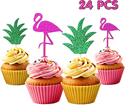 5x Glitter Flamingo Cupcake Toppers Tropical Hawaiian Beach Party Cake Decor