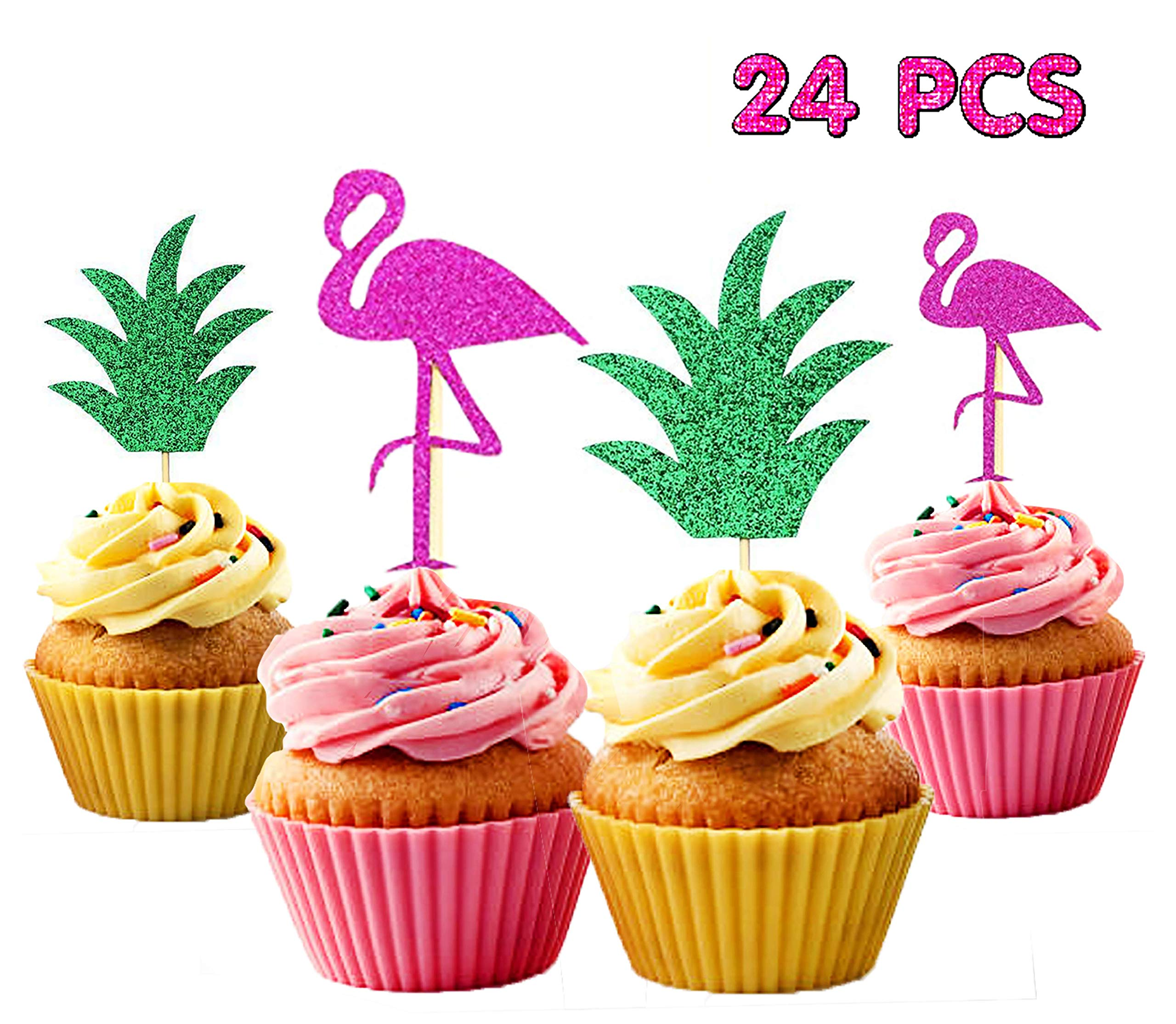 24 Pcs Flamingo Pineapple Cupcake Toppers Luau Tropical Hawaiian Pool Party Supplies Summer Birthday Cake Decorations Buy Online In Botswana At Botswana Desertcart Com Productid 149641899