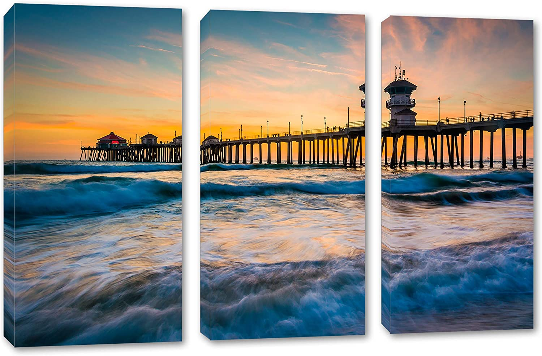 48 x 32 Total - Huntington Beach Docks Canvas Print Wall Art - 3 Panel Split, Triptych. Home Decor, Wall Decoration