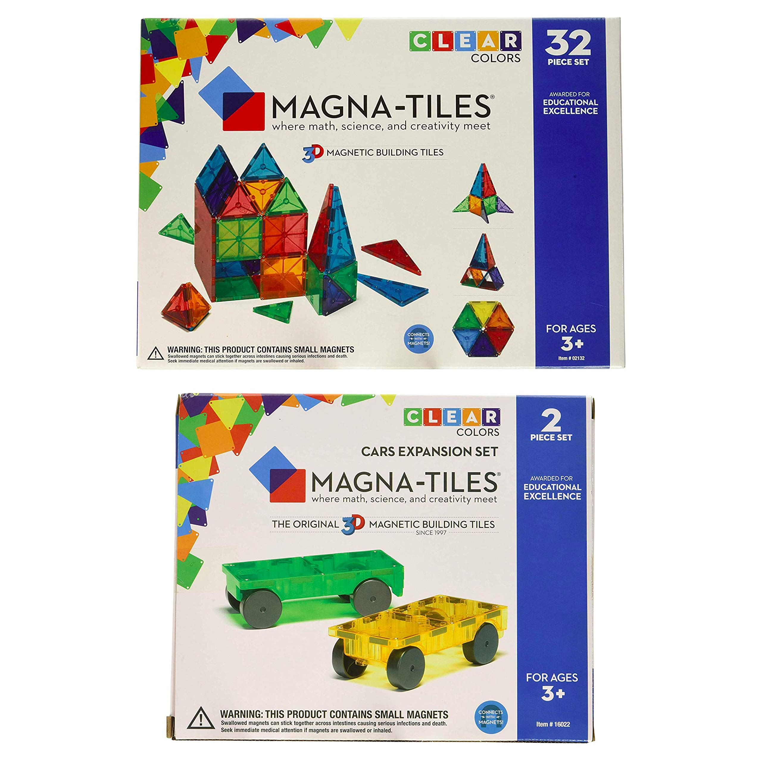Magna-Tiles 32-Piece Clear Colors Set - The Original, Award-Winning Magnetic Building Tiles - Creativity and Educational - STEM Approved Bundled 2-Piece Car Expansion Set
