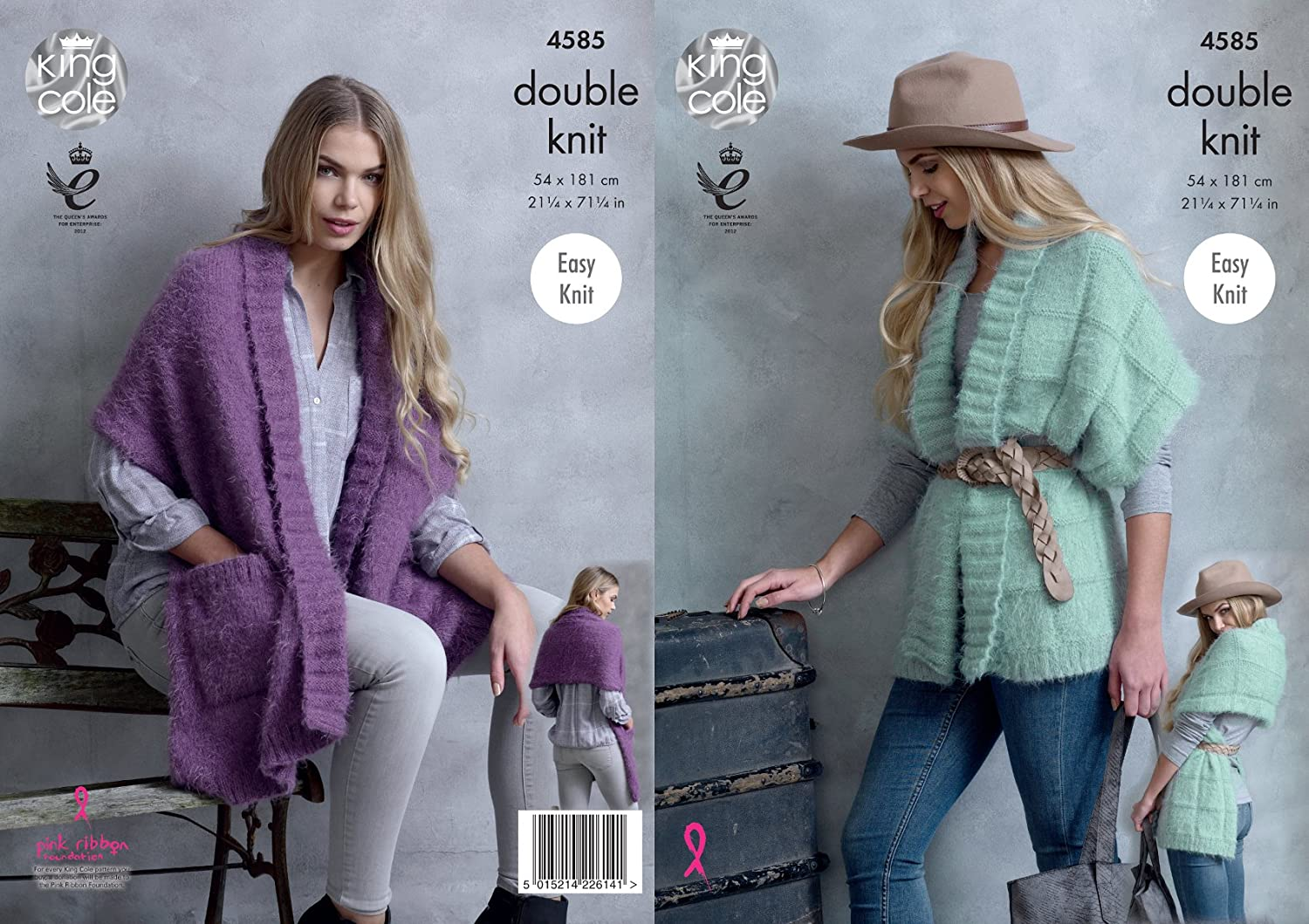 Easy Knit Ladies Ribbed Wrap Ponchos Knitting Pattern King Cole Double Knit 4585