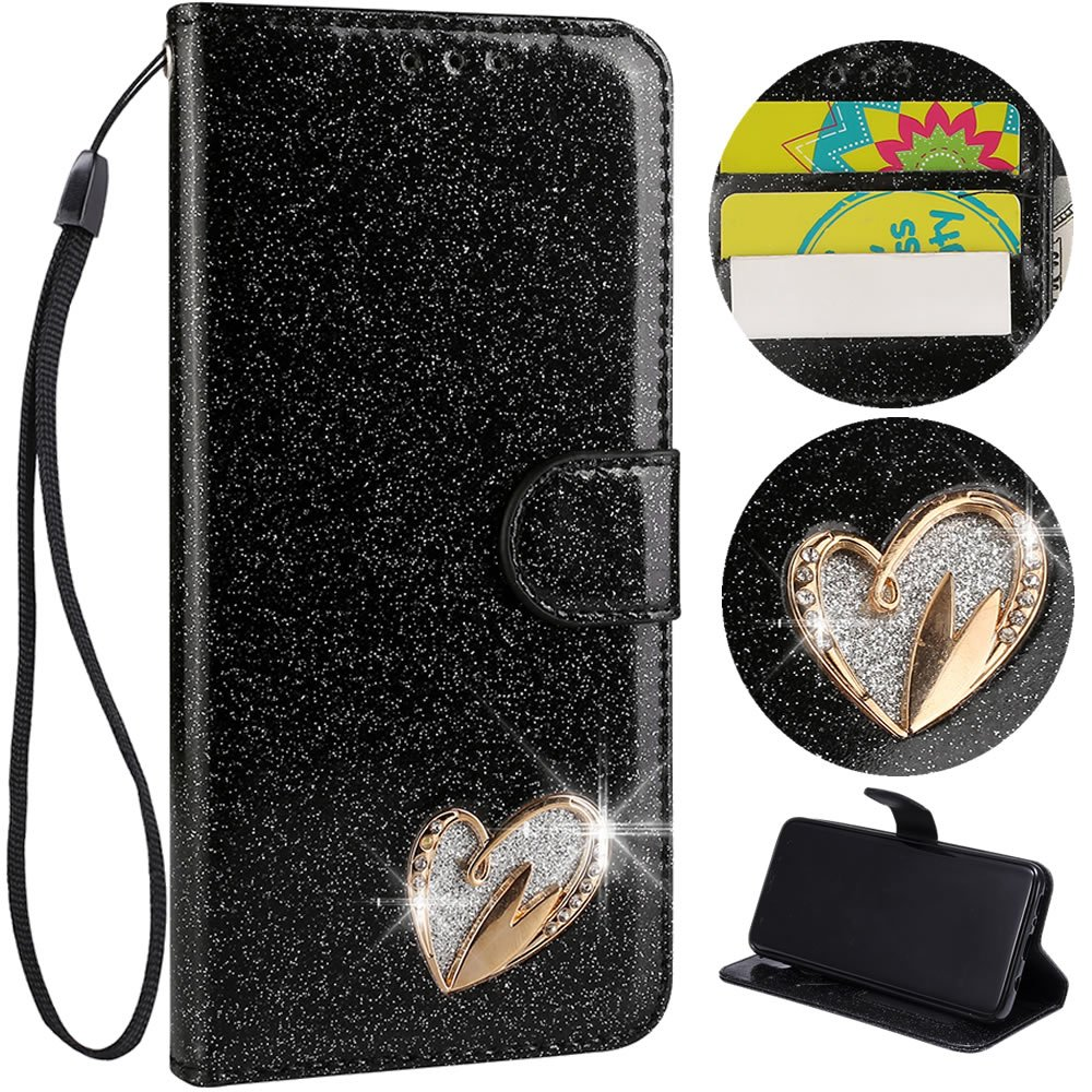 Stysen Wallet Case for iPhone 6S 4.7'',Glitter Leather Case for iPhone 6 4.7'',Glitter Gold Love Heart ShapeWrist Strap Flip Case Cover for iPhone 6S 4.7''/6 4.7''-Love Heart,Black by Stysen