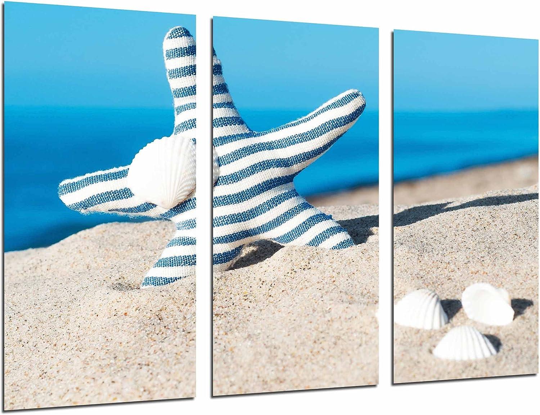 Cuadro Fotográfico Paisaje Playa Mar Cielo, Estrella Azul y Cochas en Arena Tamaño total: 97 x 62 cm XXL