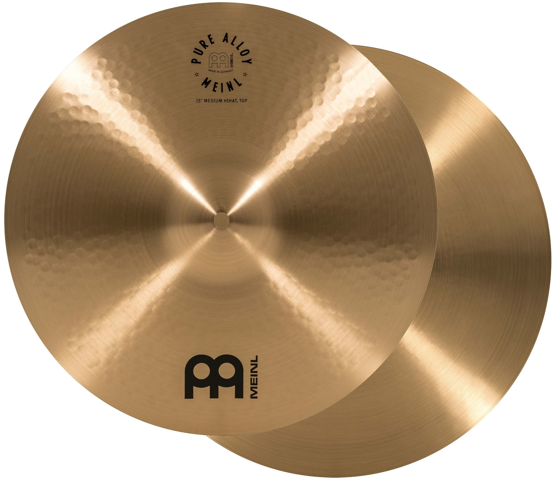 Meinl 15'' Medium HiHat (Hi Hat) Cymbal Pair - Pure Alloy Traditional - Made in Germany, 2-YEAR WARRANTY (PA15MH)