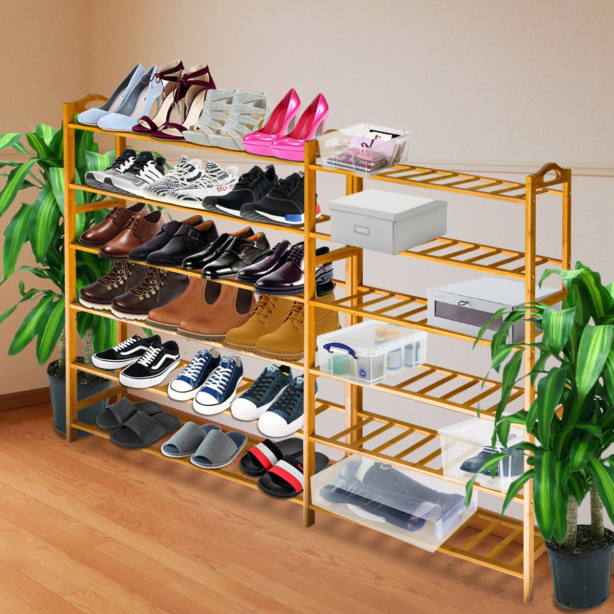 ANKO Bamboo Shoe Rack, 100% Natural Bamboo Thickened 6-Tier Mesh Utility Entryway Shoe Shelf Storage Organizer Suitable for Entryway, Closet, Living Room, Bedroom. (1 PACK) by ANKO (Image #7)