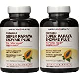 American Health - Super Papaya Enzyme Plus Chewable High Potency - 360 Chewable Tablets, Pack of 2