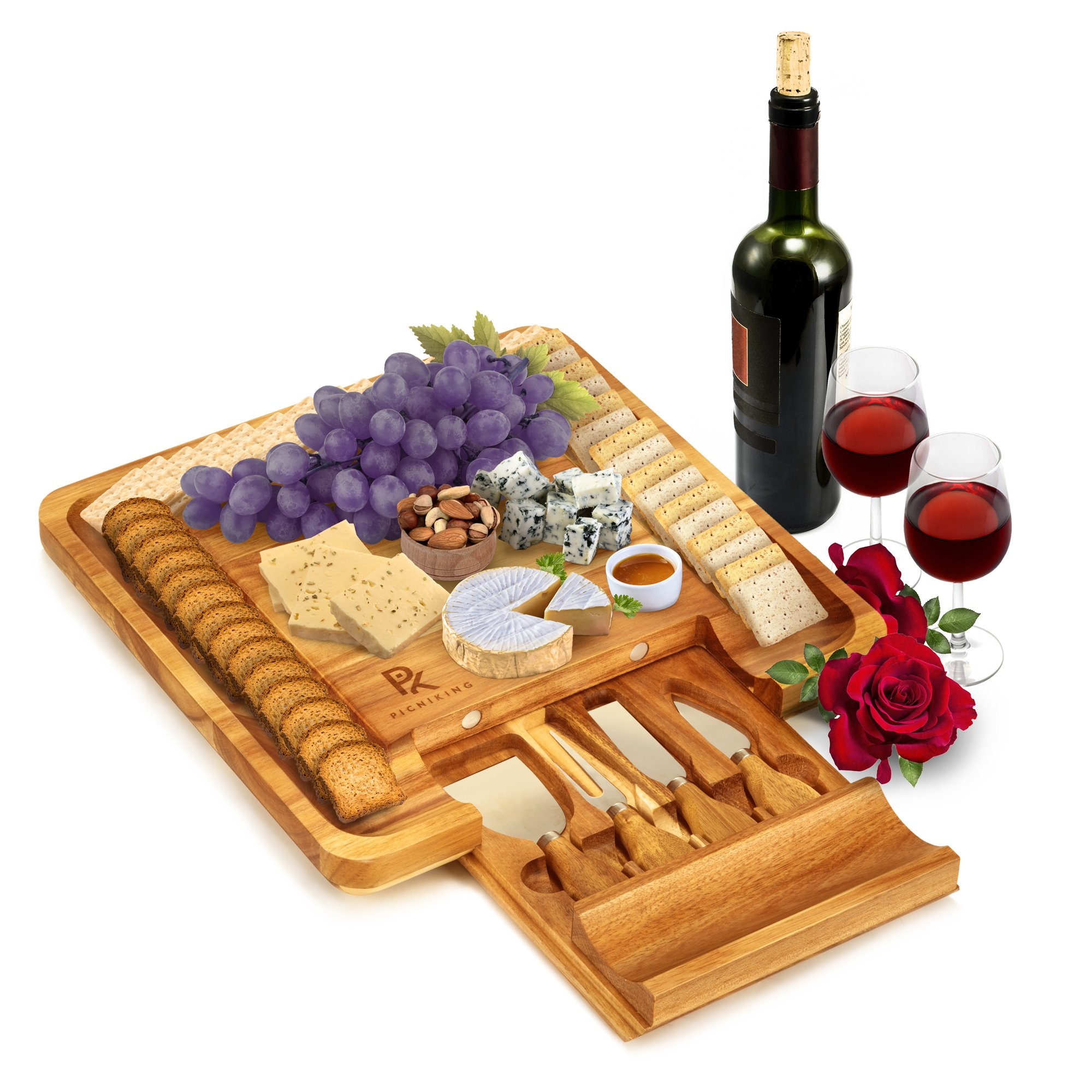 Large 100% Teak Cheese Board and Knife Set (13x13x1.5) | NO CHEAP BAMBOO | Charcuterie Board | Cheese Platter | Cheese Plate | Cheese Tray