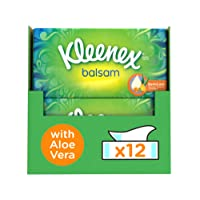 Kleenex Balsam Facial Tissues, Pack of 12 Tissue Boxes