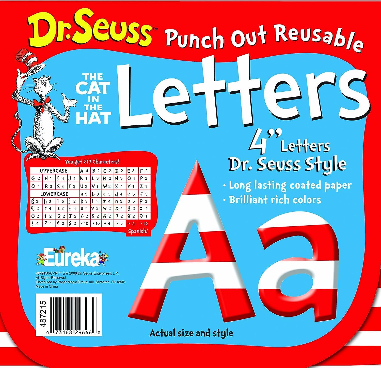 Seuss Punch Out Reusable Decorative 4-Inch Letters Stripes Paper Magic 487215 Eureka Dr Set of 200