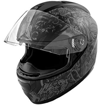 Dot motocicleta casco cara completa calavera Koi arte mate gris w/visera – grande