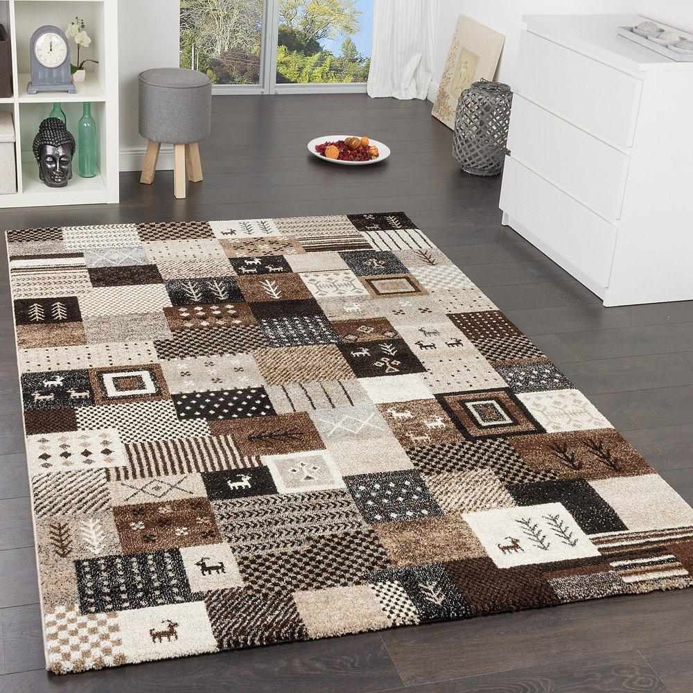 Paco Home Designer Teppiche Modern Loribaft Nomaden Teppich Gabbeh Optik Beige Braun Creme, Grösse 200x290 cm