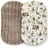 Pobibaby - 2 Pack Premium Bassinet Sheets for Standard Bassinets - Ultra-Soft Cotton Blend, Stylish Woodland Pattern, Safe an