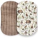 Pobibaby - 2 Pack Premium Bassinet Sheets for Standard Bassinets - Ultra-Soft Cotton Blend, Stylish Woodland Pattern…