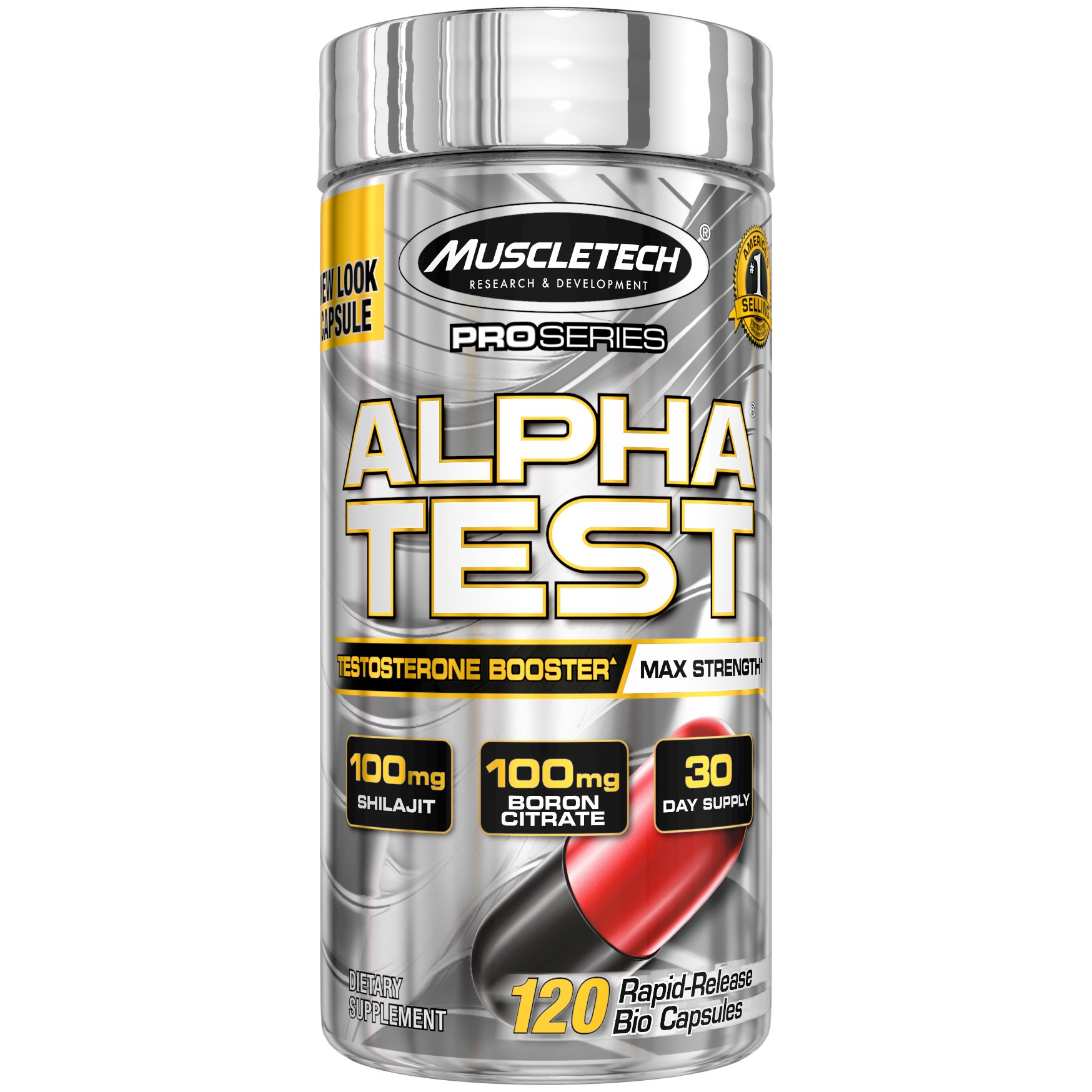 MuscleTech Pro Series AlphaTest, Max-Strength Testosterone Booster, 120 Rapid-Release Capsules