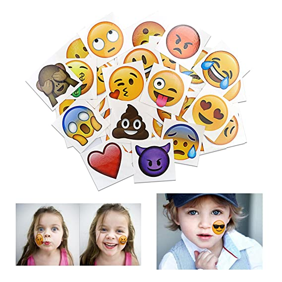 Konsait Tatuajes temporales Emoji (160pcs 2inch), Emoji cumpleaños Tatuajes Adhesivos Impermeables para Mujeres Hombres Infantiles niños Fiestas Regalo ...