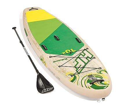 Bestway Kahawai 65308 - Tabla inflable de paddle suft con remo de aluminio, madera y verde (SUP kit con correa, bomba de hinchado con manómetro y ...