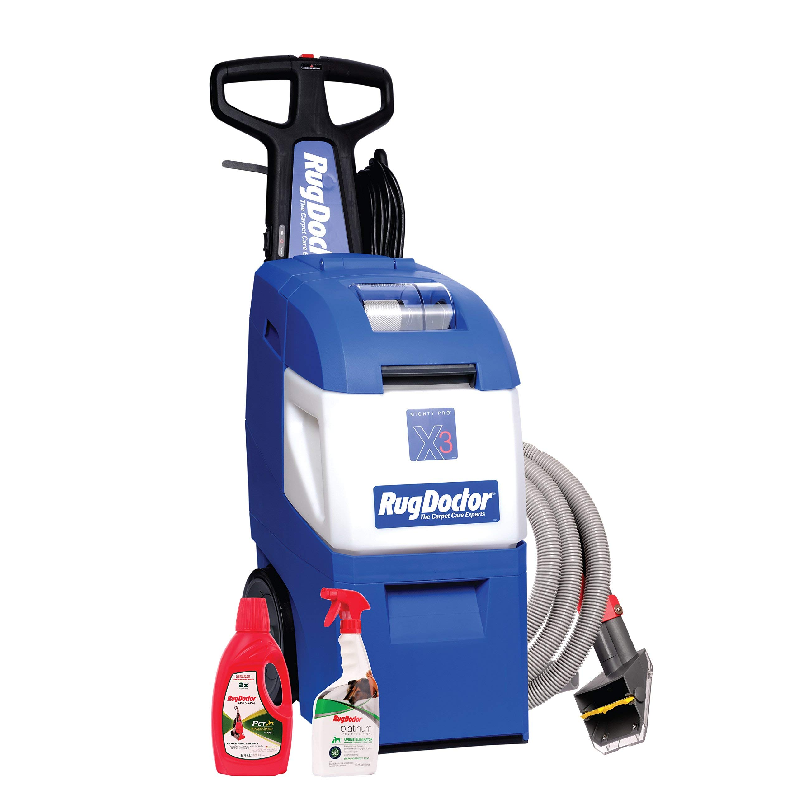 Rug Doctor Mighty Pro X3 Pet Pack, Deep Carpet Cleaning Machine with Upholstery Tool and Carpet Cleaning Solutions Included, Removes Deep Pet Stains and Neutralizes Odors (Renewed) by Rug Doctor