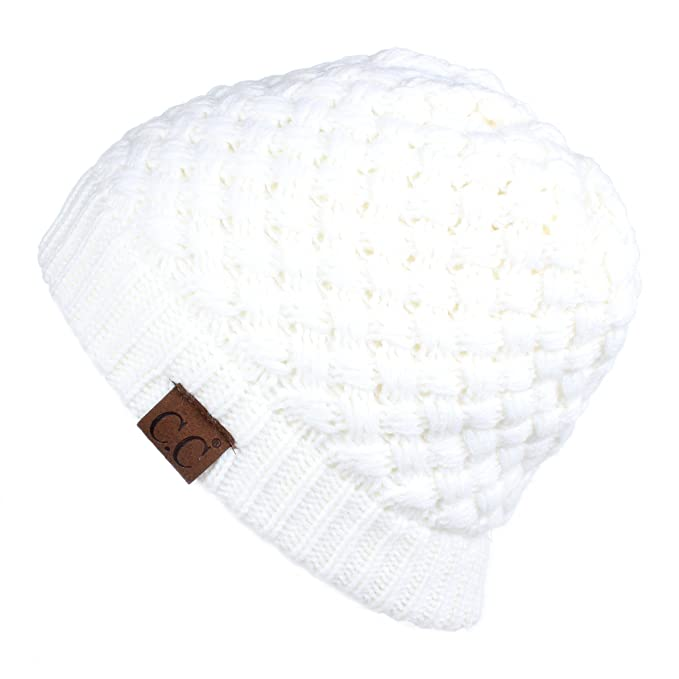 2b1ae252abfca Hatsandscarf CC Exclusives Knit Warm Inner Lined Soft Stretch Skully Beanie  Hat(HAT-47) (Ivory) at Amazon Women s Clothing store