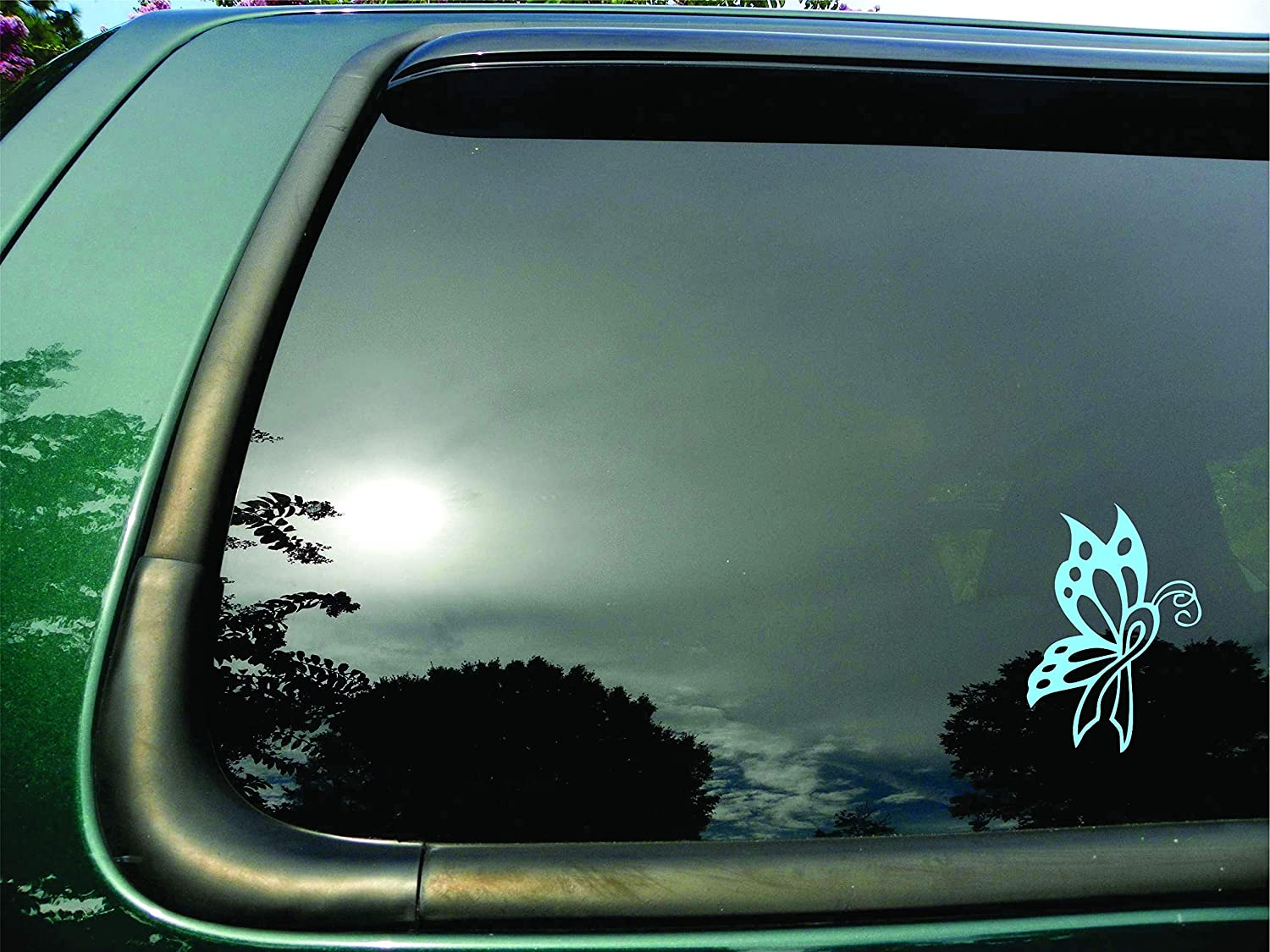 """Butterfly Ribbon Light Blue Prostate Cancer - Die Cut Vinyl Window Decal/sticker for Car or Truck 3.5""""x5"""""""