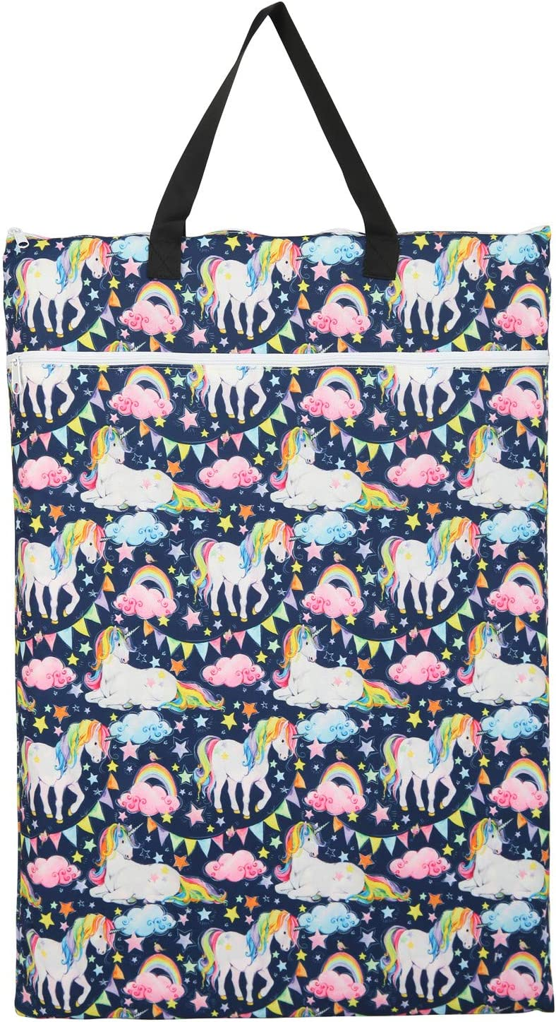 Flamingo Hummingbirds 2 Pack Large Hanging Wet Bags Laundry Bags Cloth Diapers Reusable