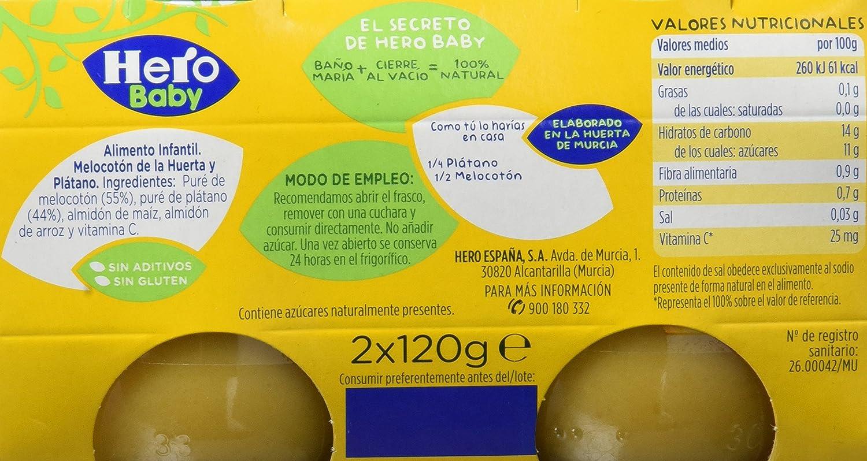 Hero Baby Melocotón Plátano, Tarrito de Cristal - Paquete de 2 x 120 gr - Total: 240 gr - , Pack de 6: Amazon.es: Alimentación y bebidas