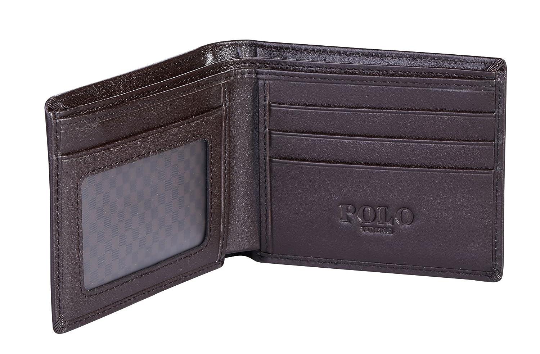 POLO VIDENG RFID Blocking cuoio del raccoglitore per gli uomini- Eccellente Protector carta di credito- Arresto Scippo elettronico (W1-Marrone)