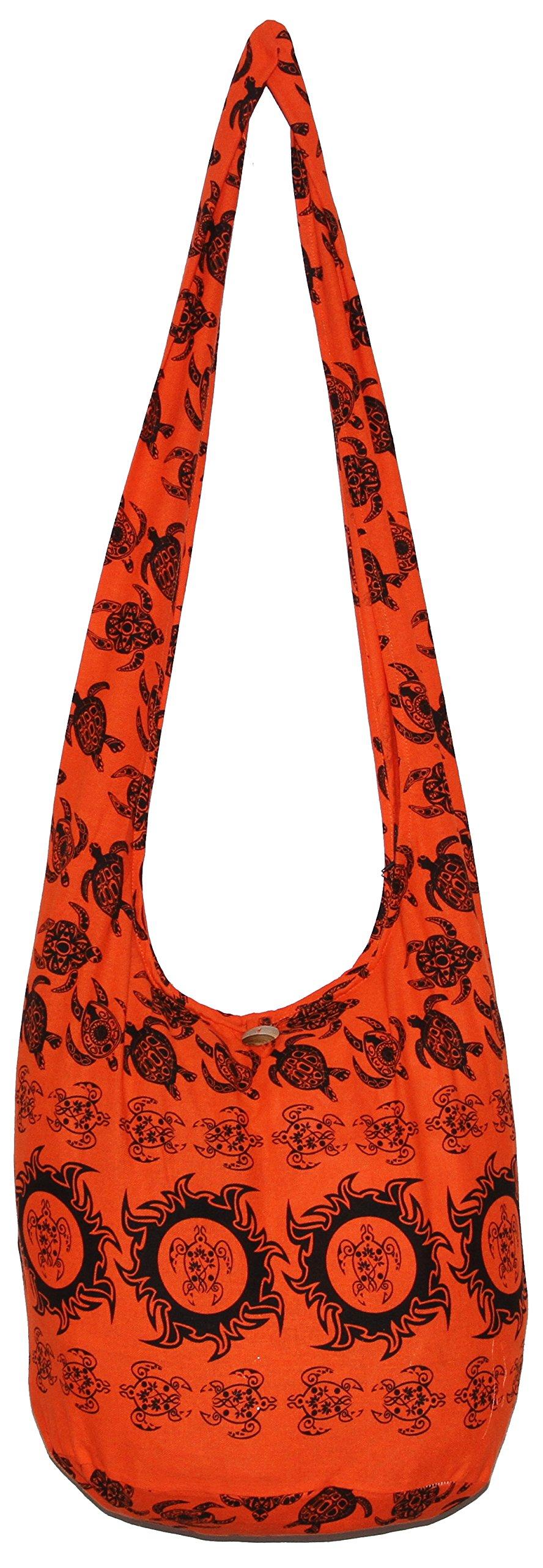 Turtle Bohemian Hippie Hobo Hipster Boho Crossbody Shoulder Bag Purse (Orange)